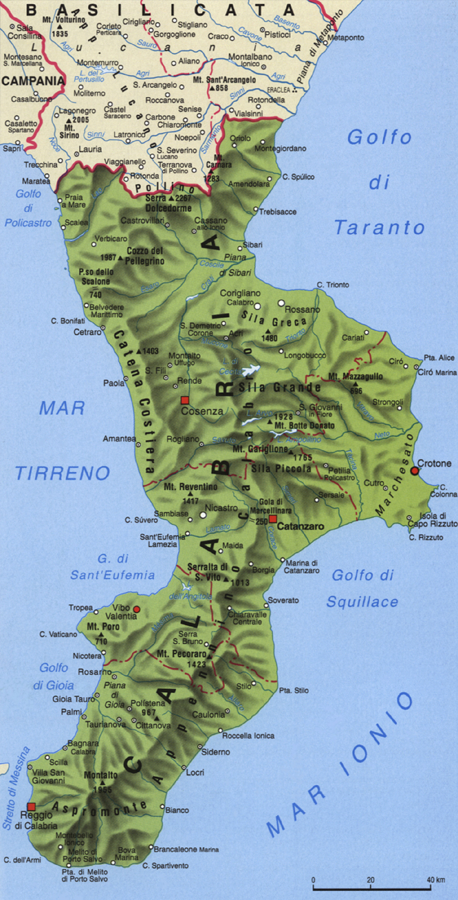 Cartina della Calabria