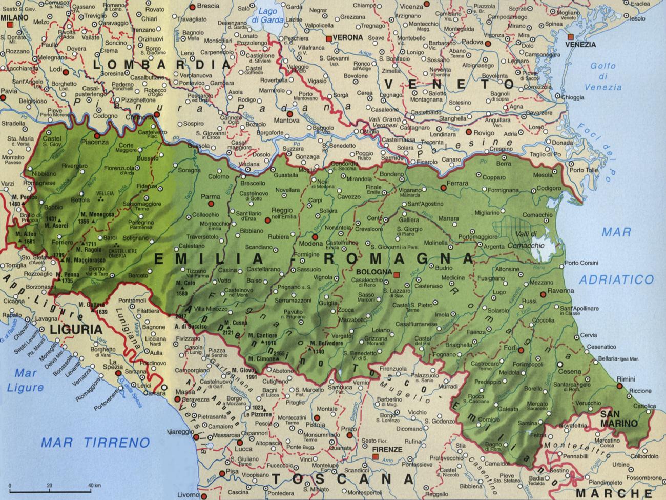Cartina dell'Emilia Romagna