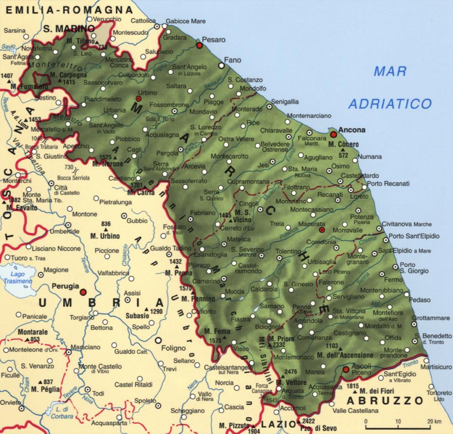 Cartina delle Marche