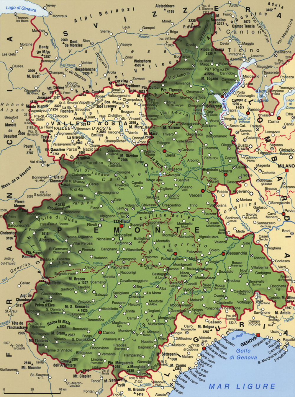 Cartina del Piemonte