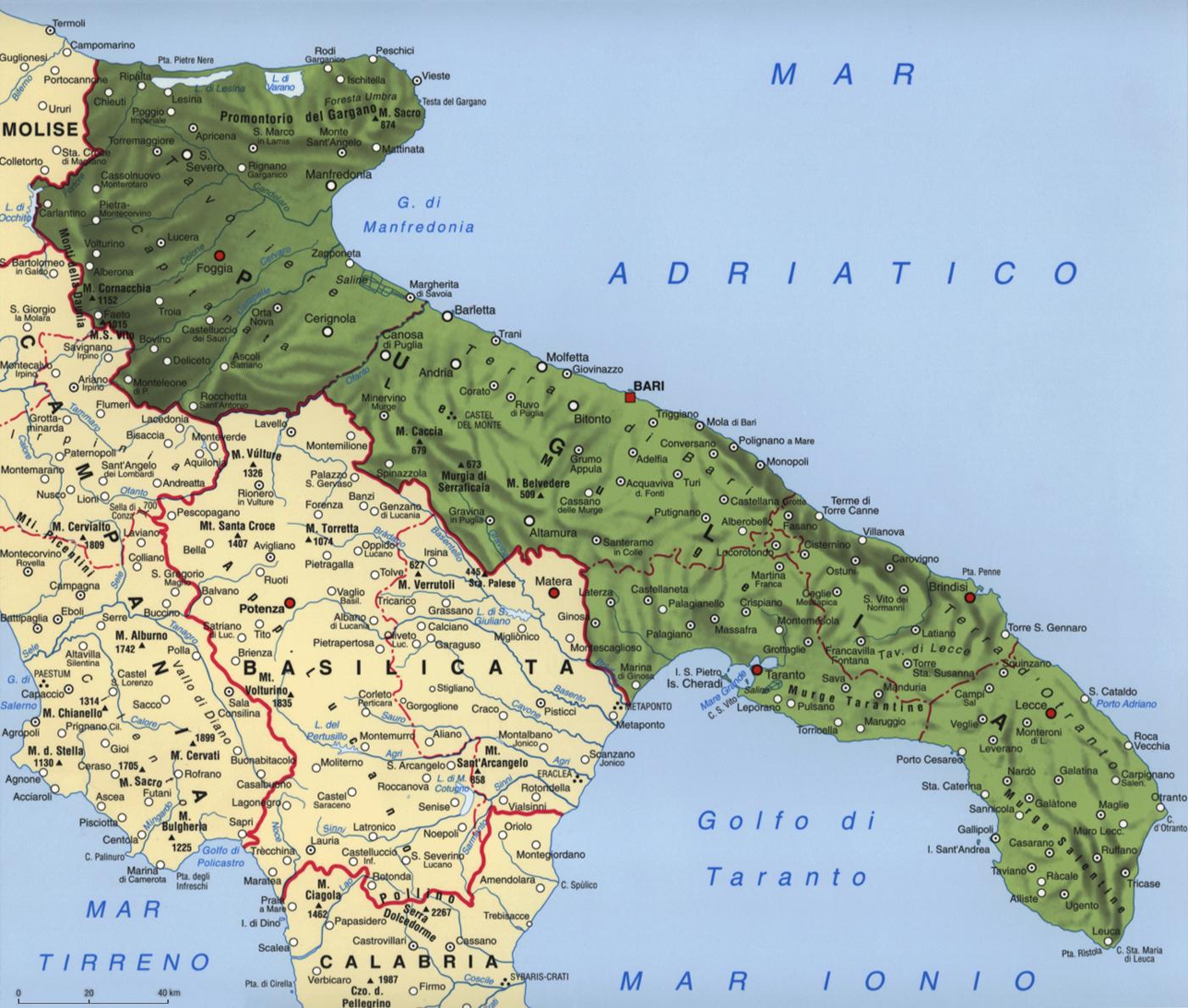 Cartina della Puglia