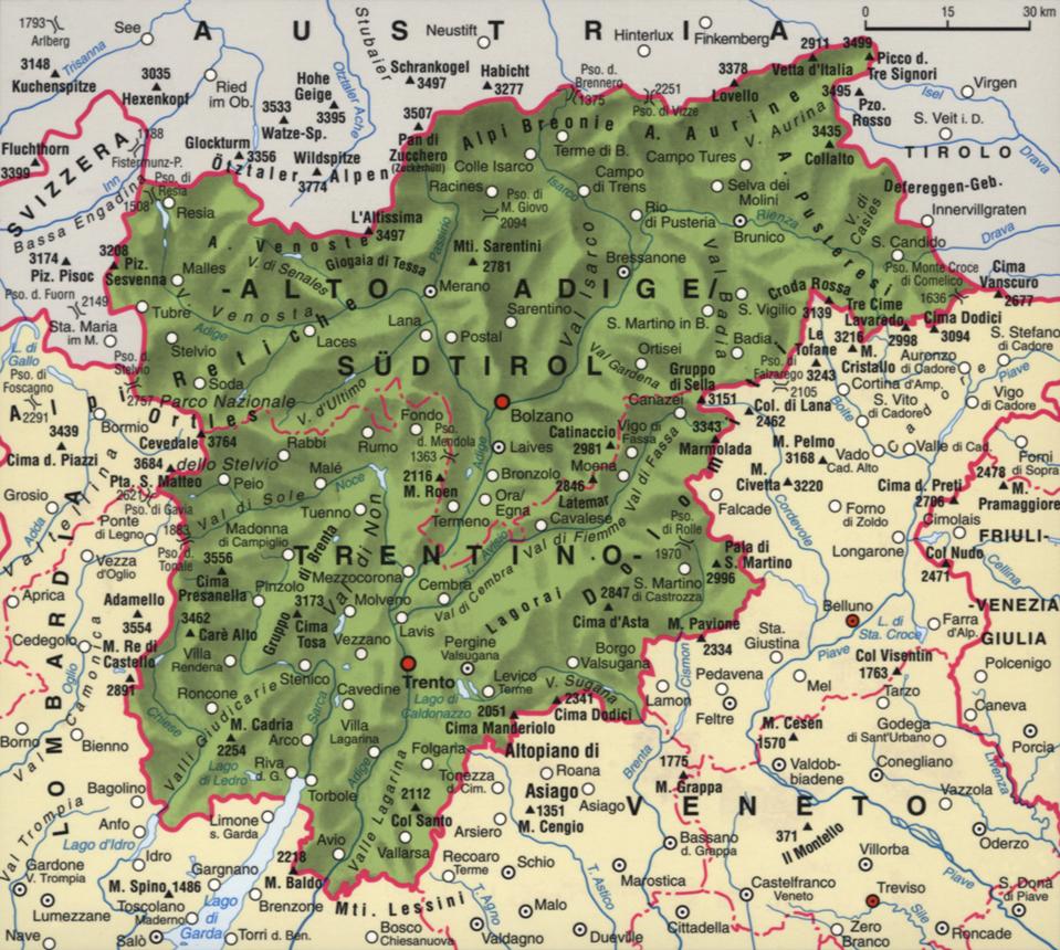 Cartina del Trentino Alto-Adige