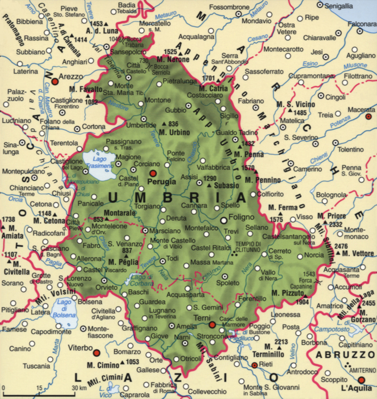 Cartina dell'Umbria