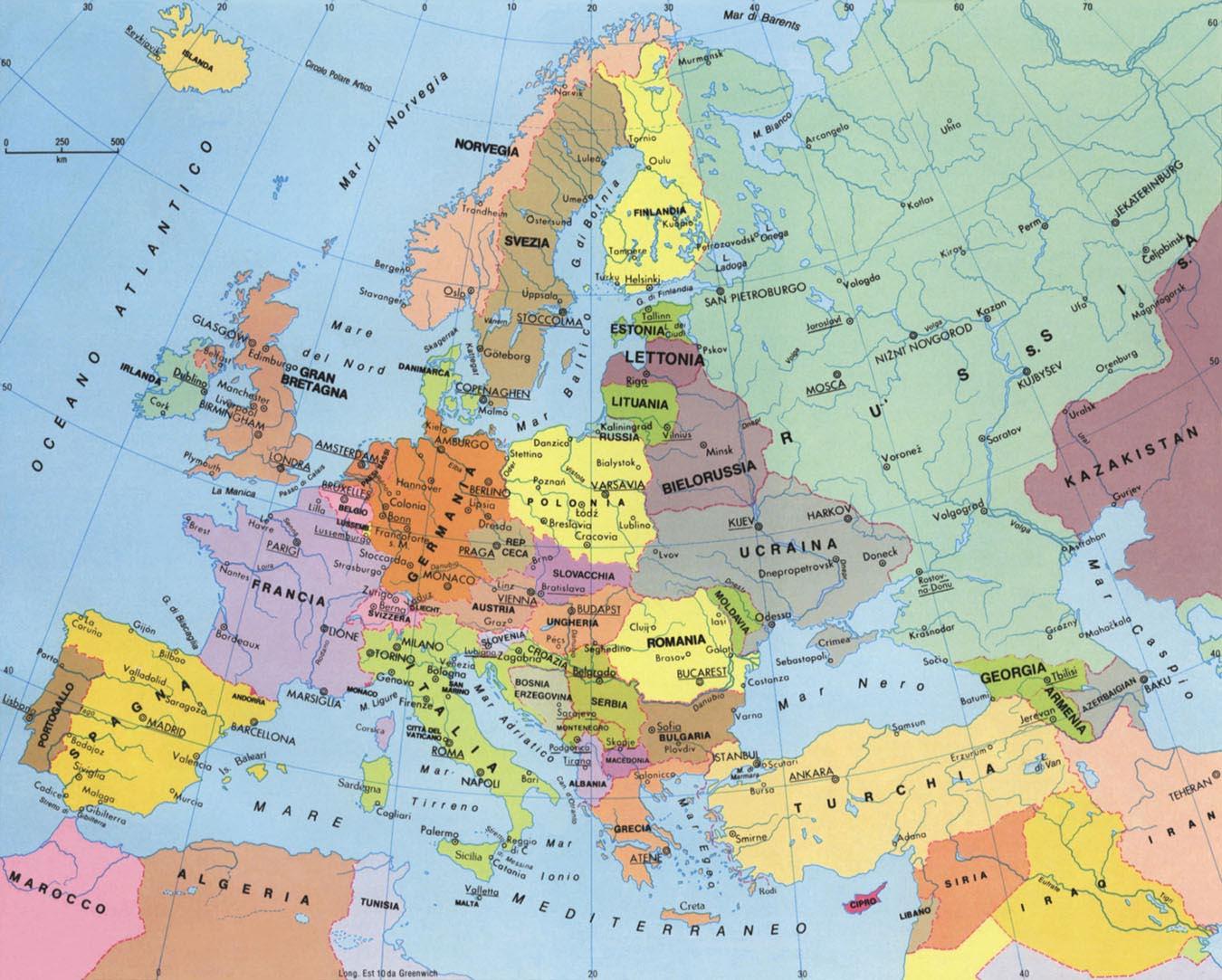 Cartina delle'Europa