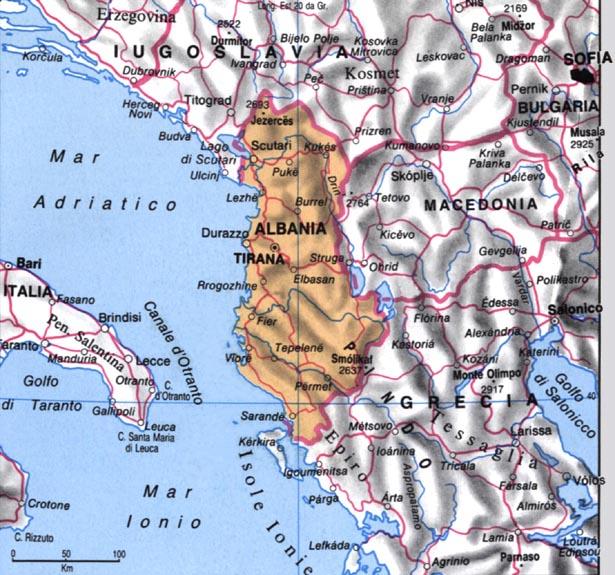 Cartina dell'Albania