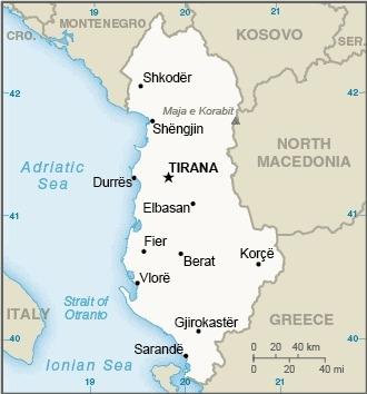 Mappa dell'Albania