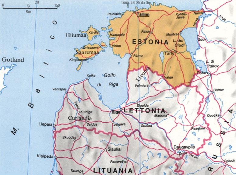 Cartina dell'Estonia