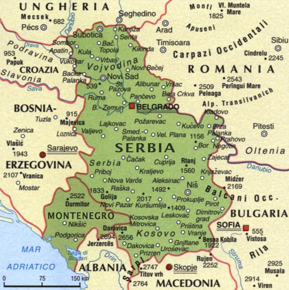 Cartina della Serbia e Montenegro