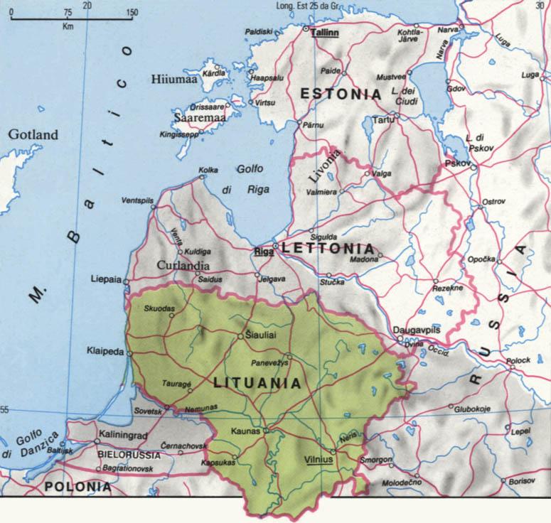 Cartina della Lituania