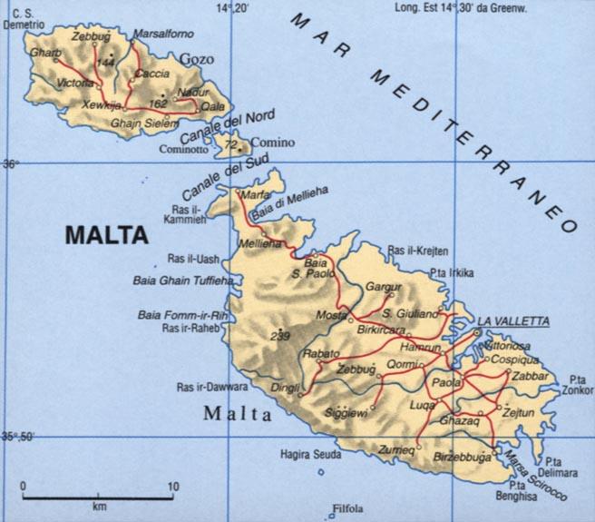 Cartina di Malta