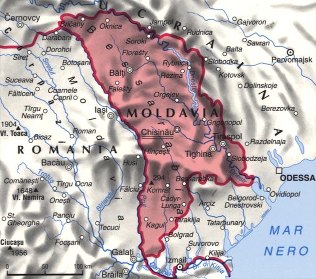 Cartina della Moldavia Moldova