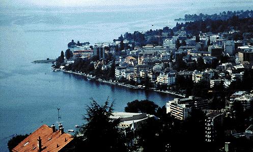 Panorama di Montreux, cittadina nel Cantone di Vaud
