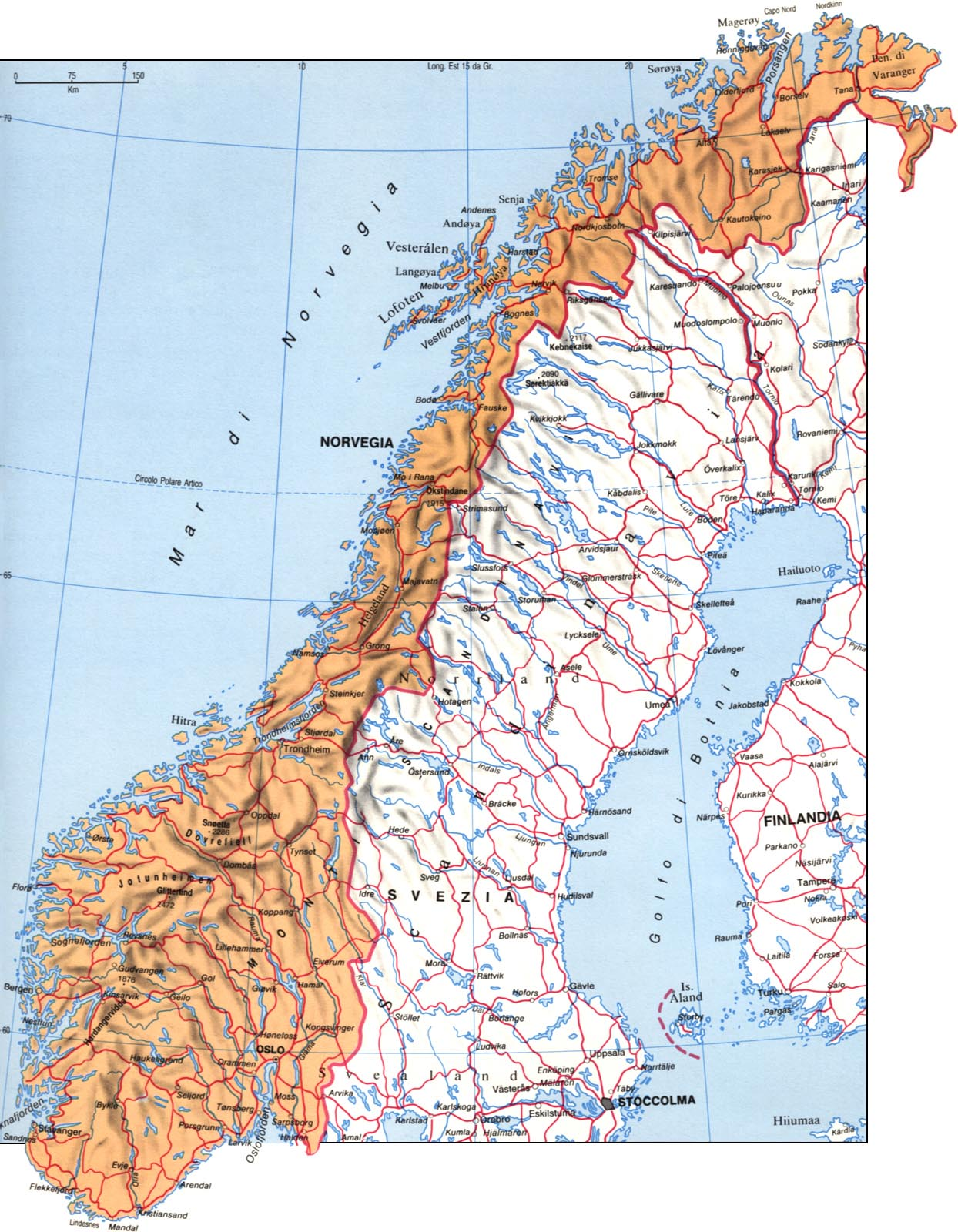 Cartina della Norvegia