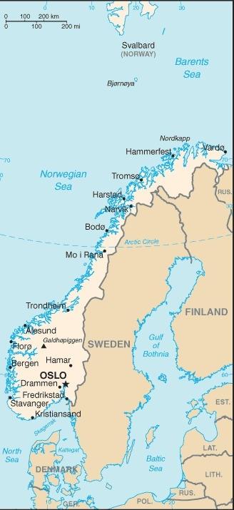 Mappa della Norvegia