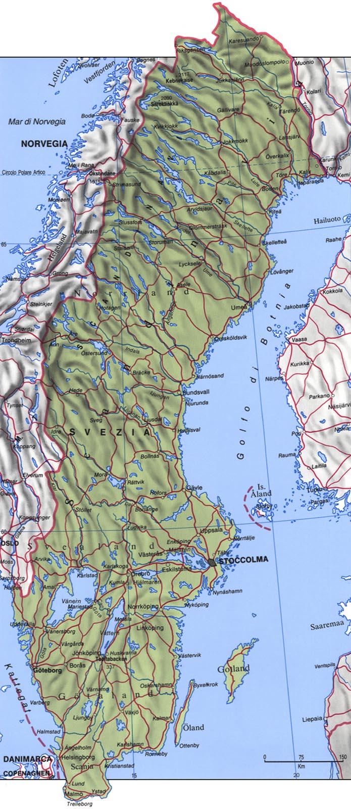 Cartina della Svezia