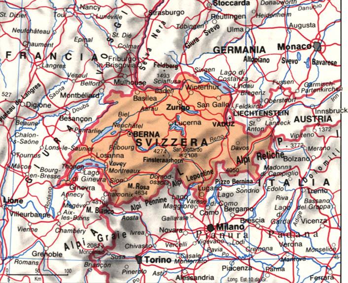La Svizzera Cartina.Geografia Europa Territorio Storia Economia Della Svizzera