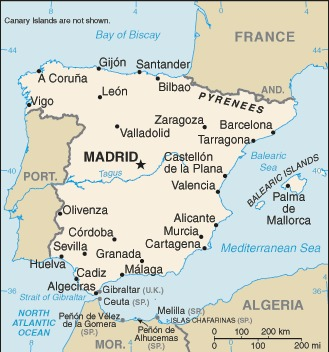 Cartina della Spagna