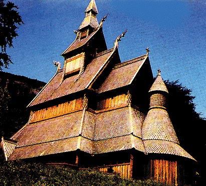 "Una ""stavkirke"", caratteristica chiesa norvegese in legno"