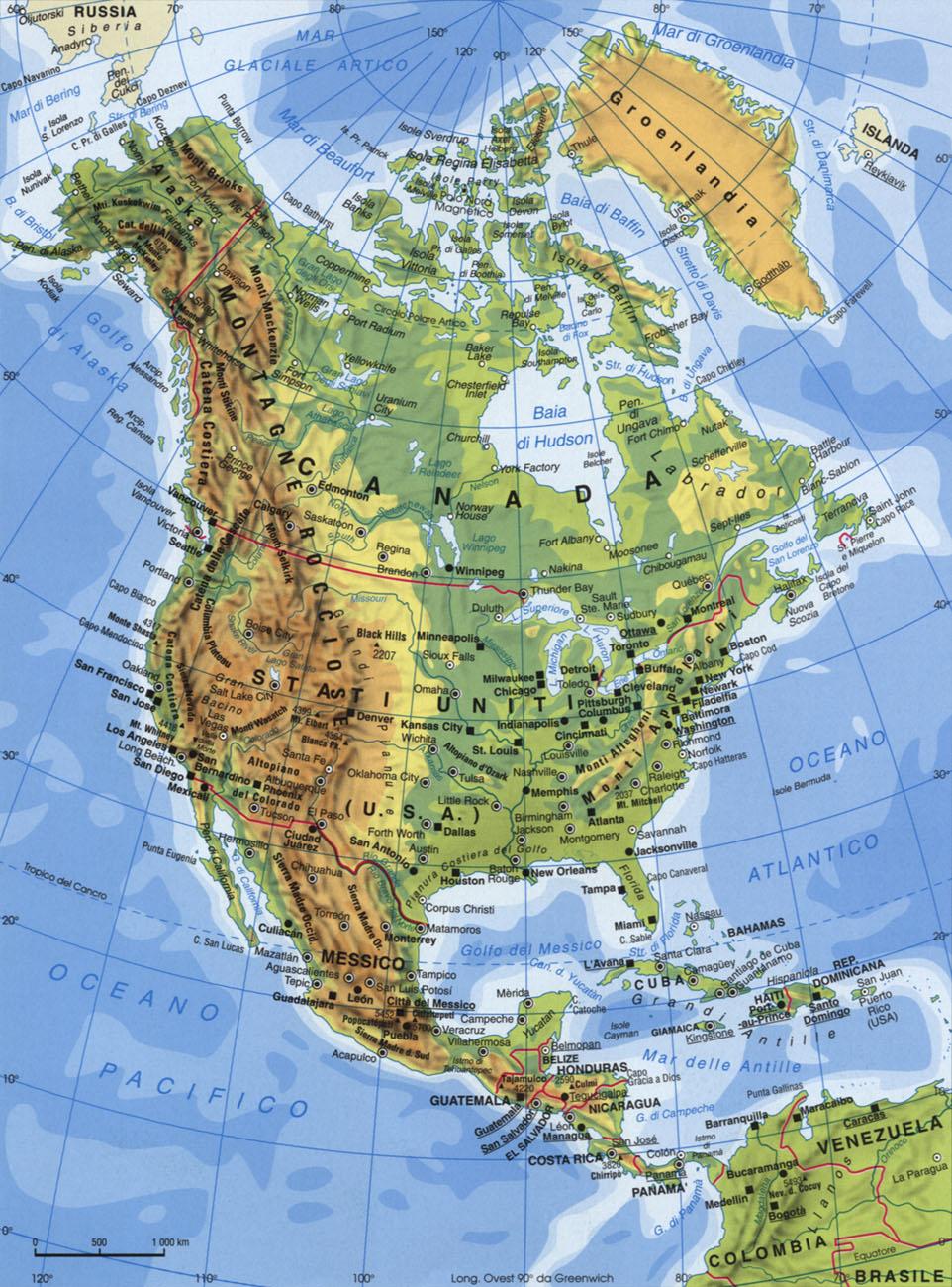 Cartina dell America del nord e centrale