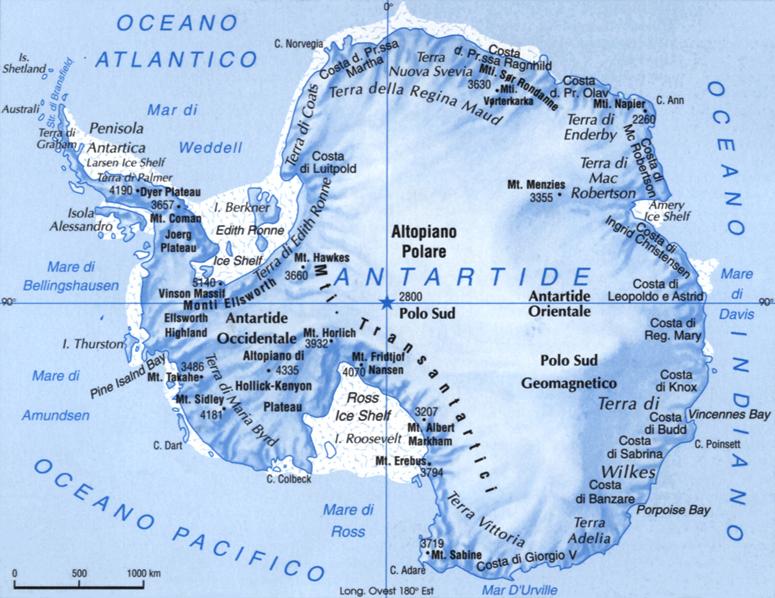 Cartina dell'Antartide