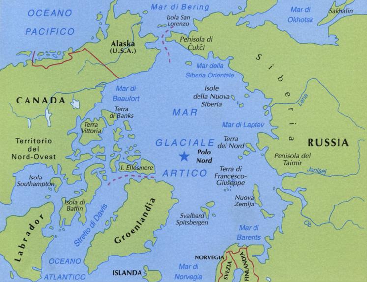 Cartina delle terre artiche