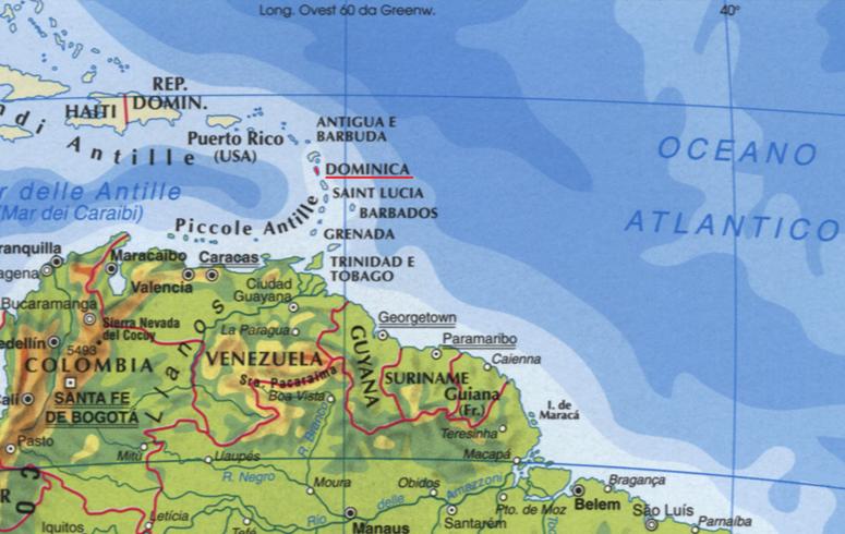 Cartina della Dominica