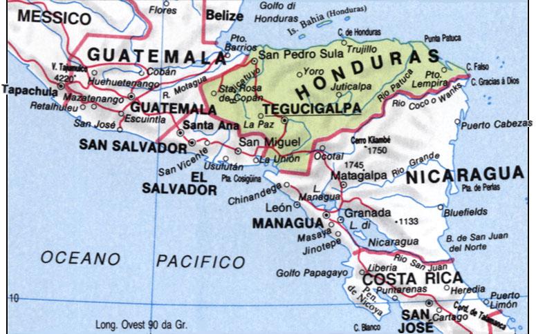 Cartina dell'Honduras