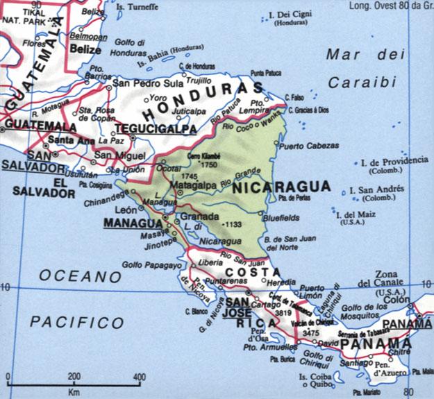 Cartina del Nicaragua