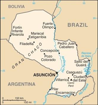 Mappa del Paraguay