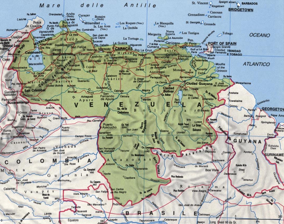 Cartina del Venezuela