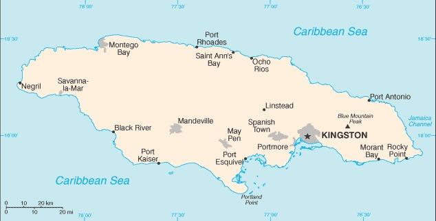 Cartina della Giamaica