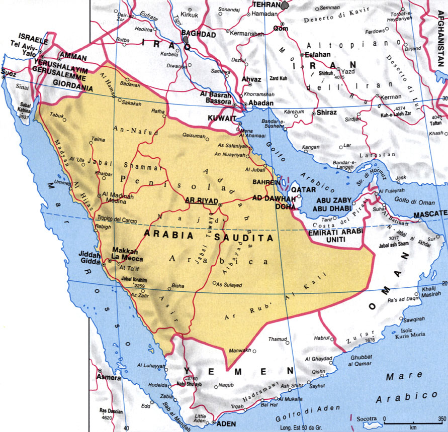 Cartina dell'Arabia Saudita