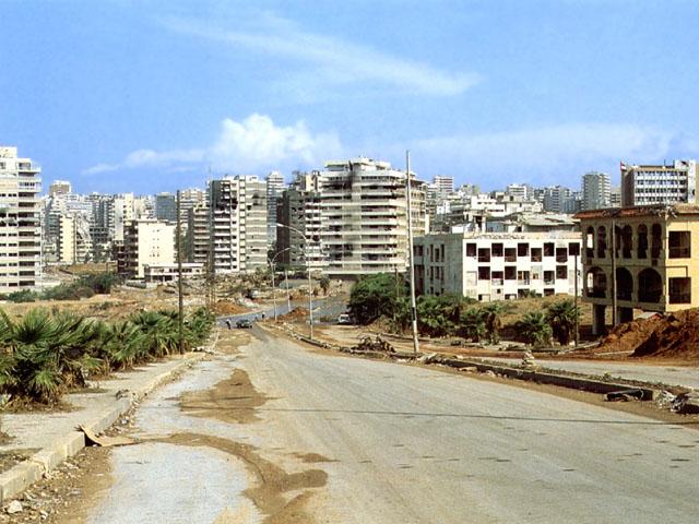 I quartieri moderni di Beirut danneggiati dalla guerra civile