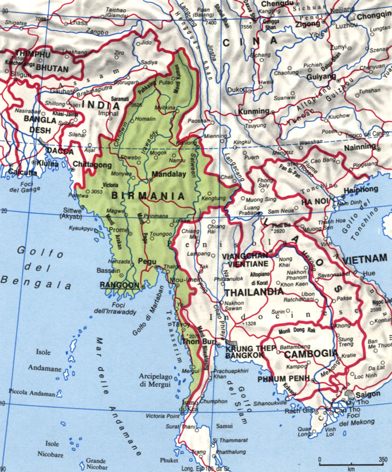 Cartina del Myanmar - Birmania