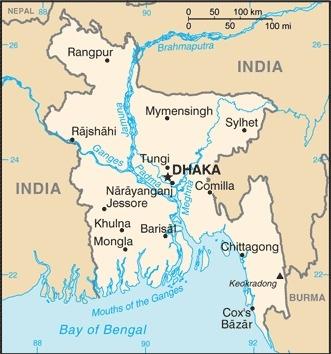 Cartina del Bangladesh