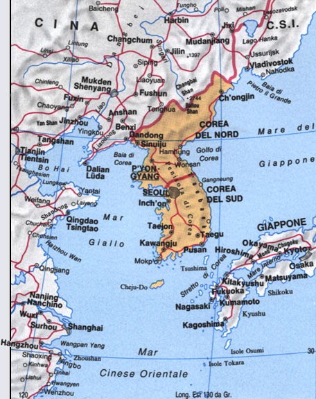 Cartina della Corea del Sud