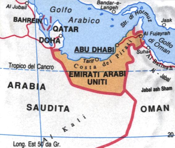 Cartina dell'UAE