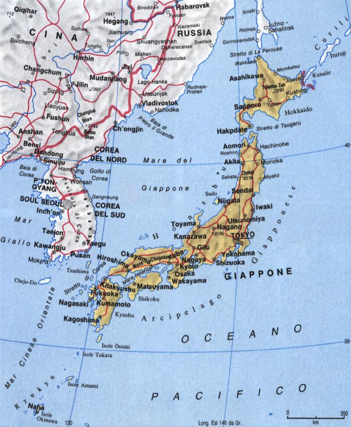 Cartina del Giappone