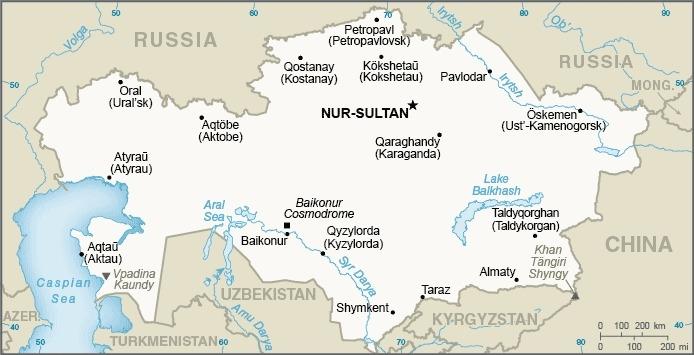 Mappa del Kazakistan