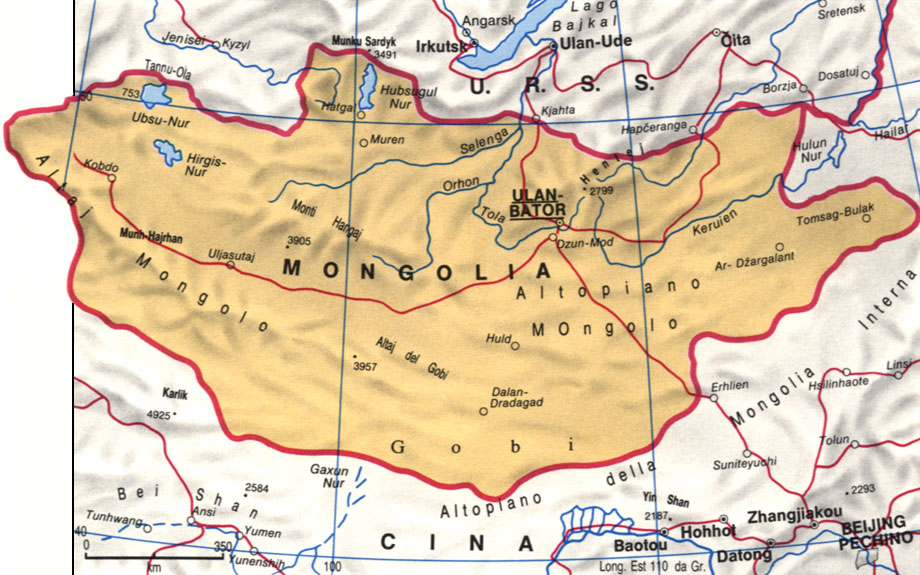 Cartina della Mongolia