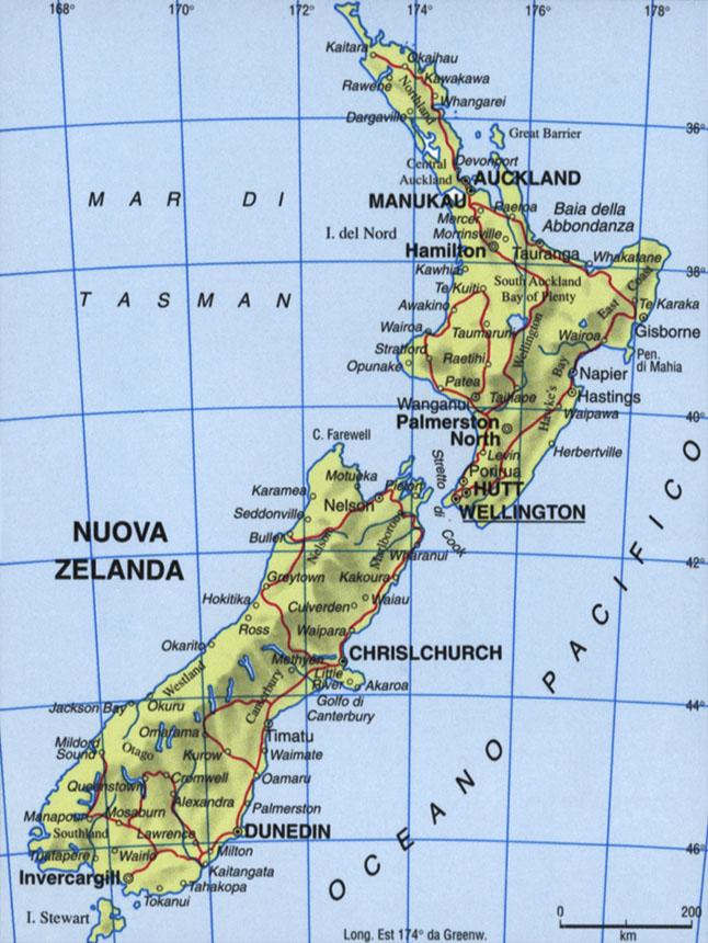 Cartina della Nuova Zelanda