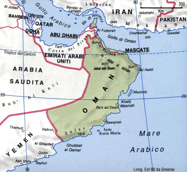 Cartina dell'Oman