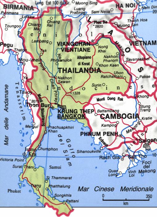 Cartina della Thailandia