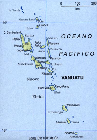 Cartina di Vanuatu