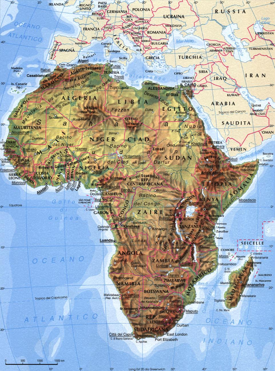 Cartina dell'Africa