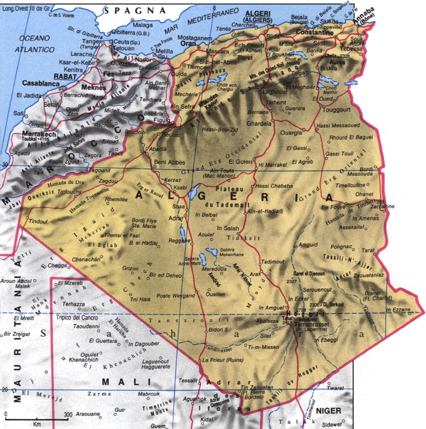 Cartina dell'Algeria