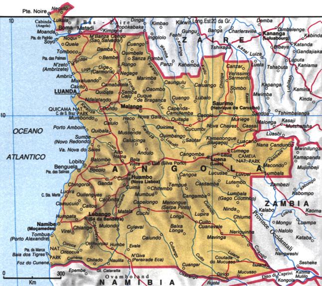 Cartina dell'Angola
