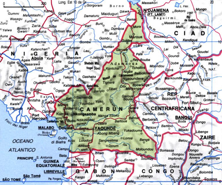 Cartina del Camerun