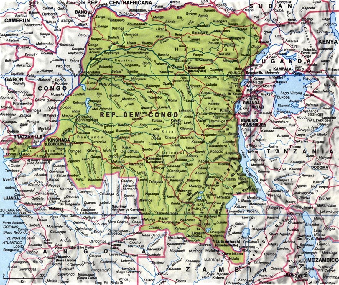Cartina della Repubblica Democratica del Congo