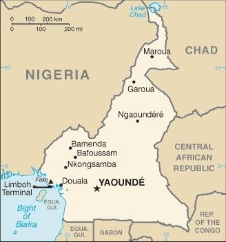 Mappa del Camerun
